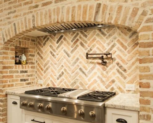 brick arch in kitchen