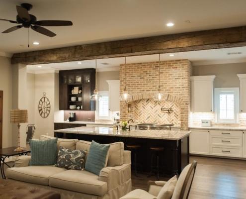 brick arch in kitchen full view