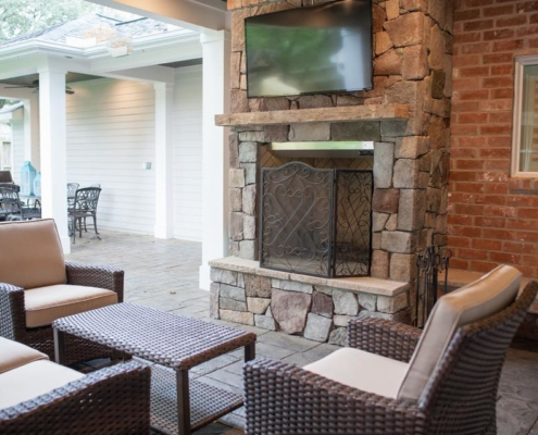 stone outdoor chimney