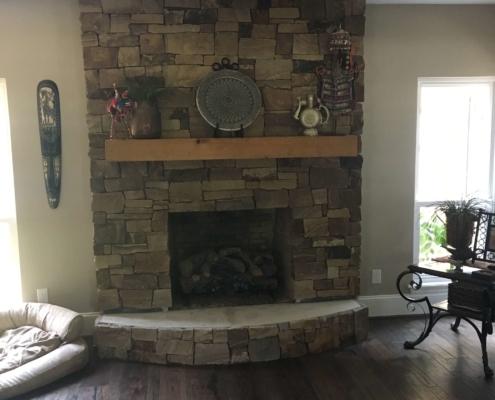 indoor brick restoration chimney