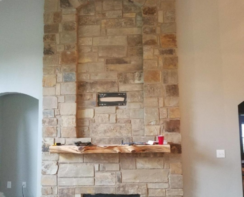 new brick fireplace and chimney