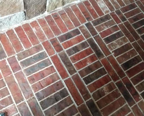 repaired brick floor