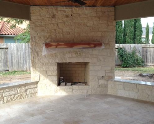 sandstone brick outdoor kitchen