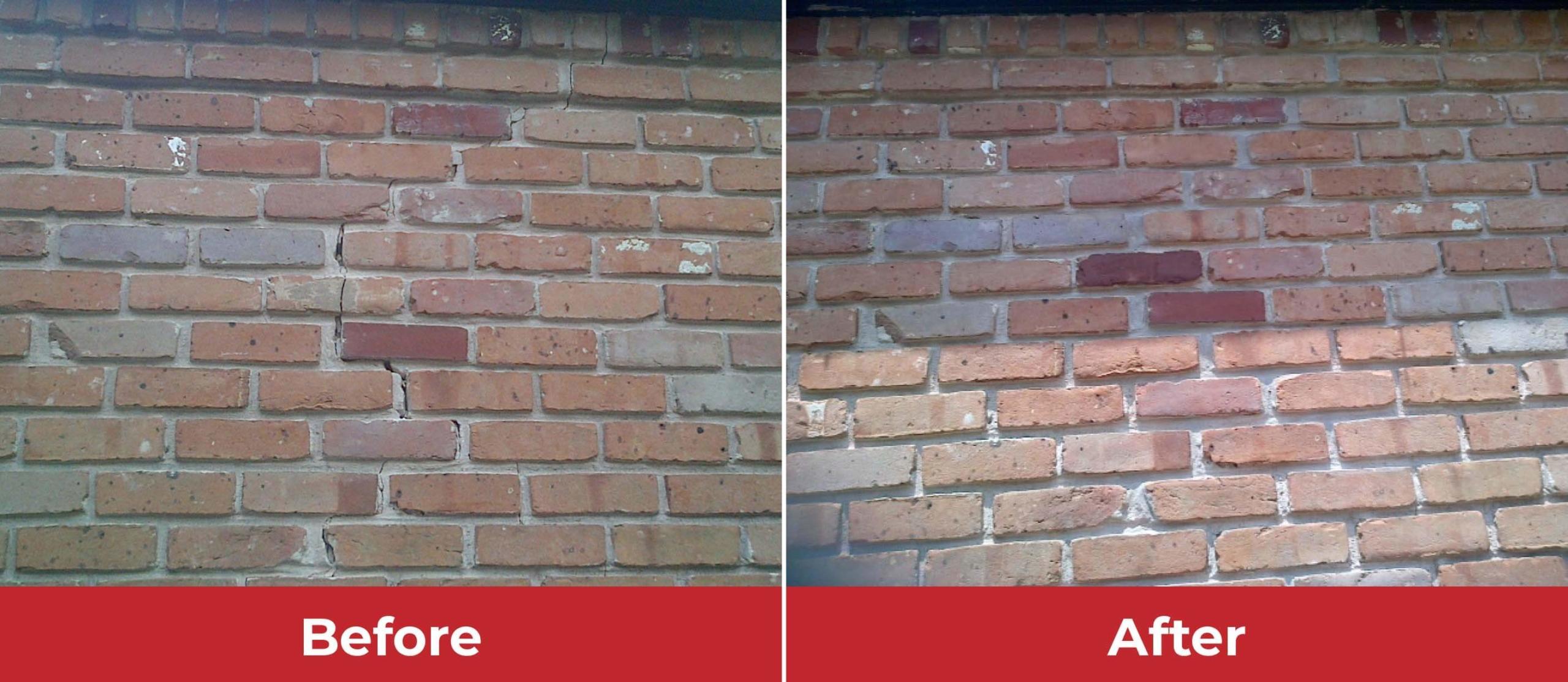brick crack repair before and after