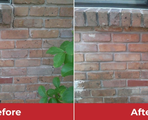 brick wall crack before and after