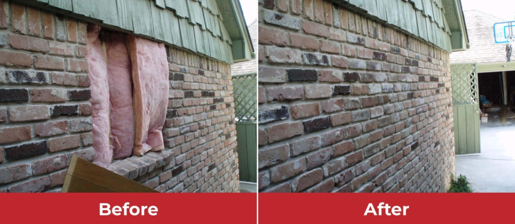 brick wall repair before and after